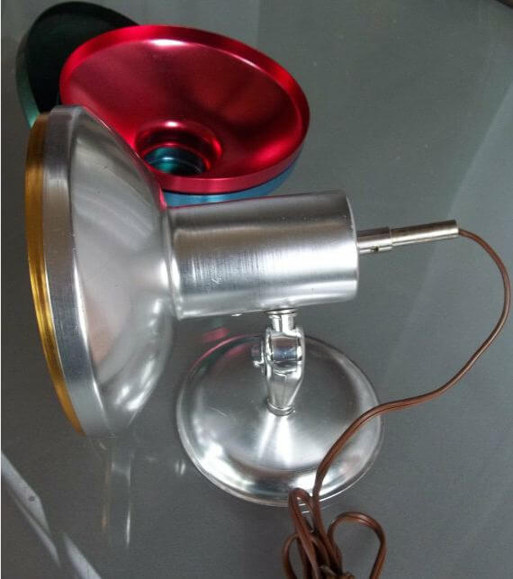 vintage aluminum light with different shades