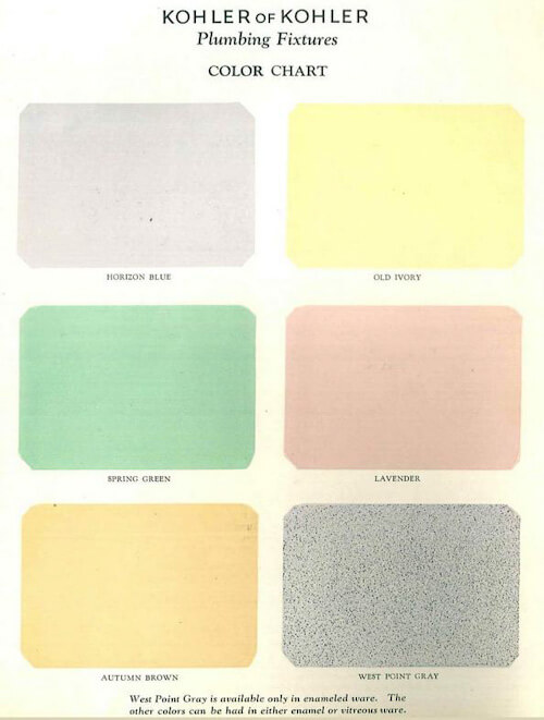colors for bathroom sinks tubs and toilets introduced by kohler in 1927