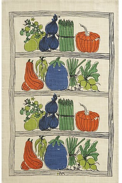 vintage vera farmers market dishtowel at crate and barrel