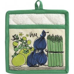 vintage vera neumann farmers market potholder crate and barrel