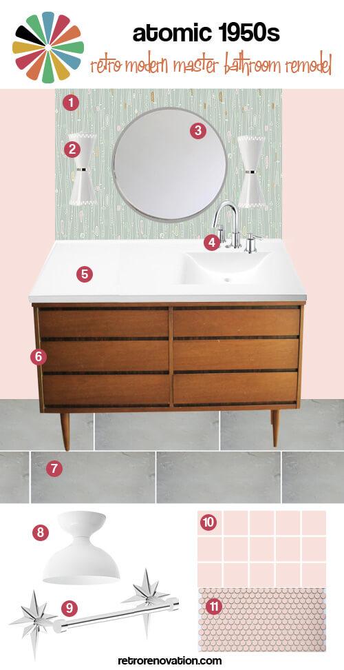 Modern 1950s Bathroom And Vintage On Pinterest: An Atomic 1950s Design Mood Board For Kate's Master