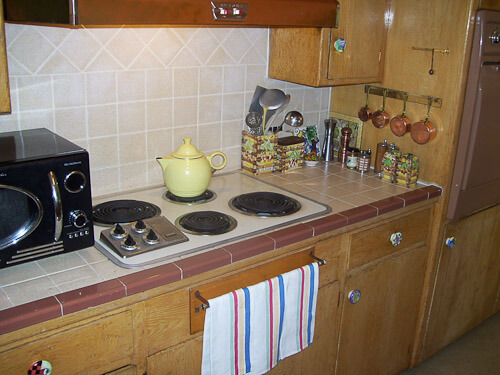 Her original ceramic tile kitchen countertops retro renovation