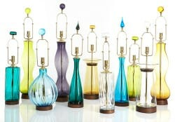 Blenko Glass lamps from Rejuvenation as published on RetroRenovation.com
