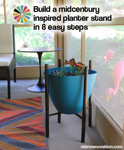 DIY mid century planter stand