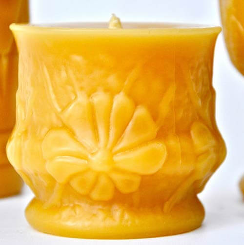 mid century cast beeswax candle