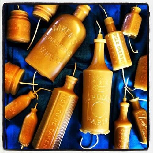 vintage bottle candles