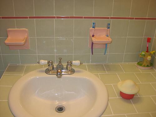 pink toothbrush holder