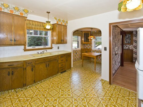 kitchen with 1970s renovation