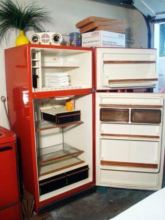 vintage red refrigerator