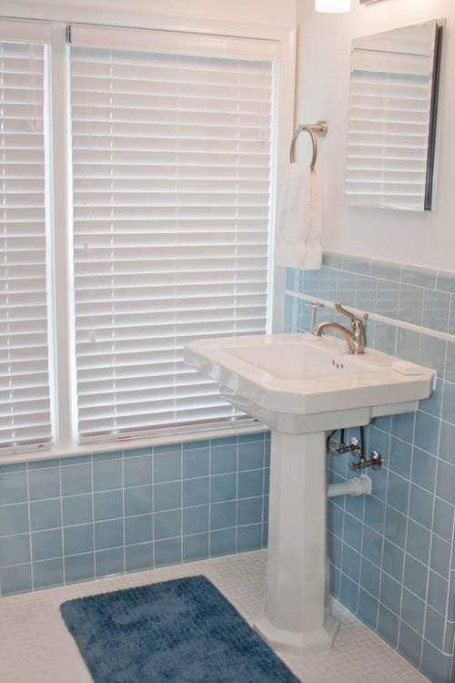 Matt jeff 39 s timeless blue tile bathroom remodel retro renovation - Blue tiled bathroom pictures ...