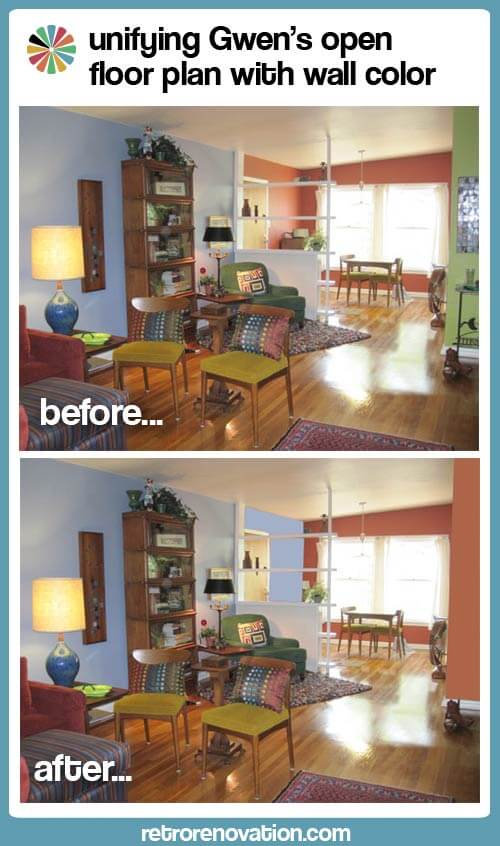 Helping gwen to unify her open floor plan with her favorite paint colors retro renovation - Floor plans for free paint ...