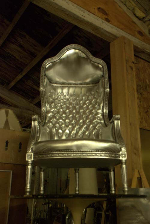 vintage silver throne chair