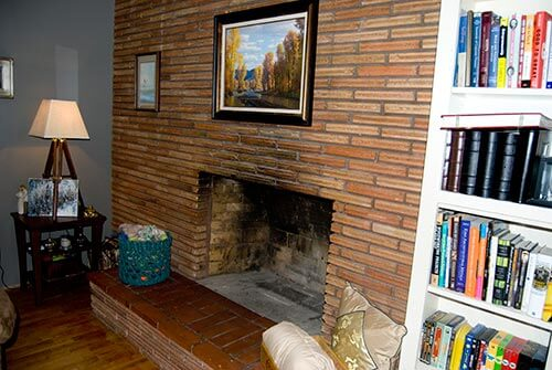 Roman brick retro fireplace