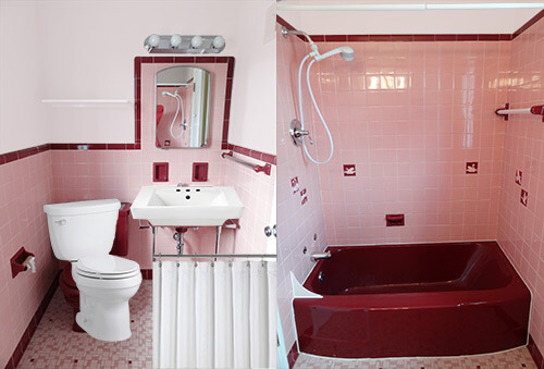 pink bath with white fixtures