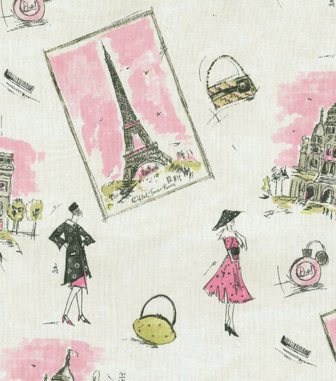 fabric with scenes of paris
