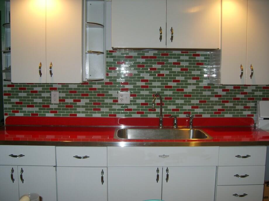 red kitchen counter top