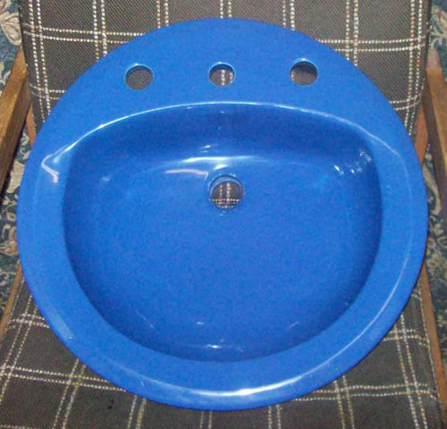 Dark blue 19 round 8 inch spread lavatory sink