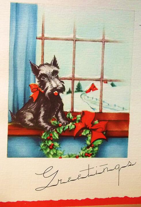 vintage christmas card schnauzer