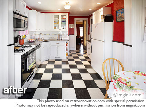 Cathy and dave 39 s charming vintage bungalow kitchen remodel for Retro kitchen flooring