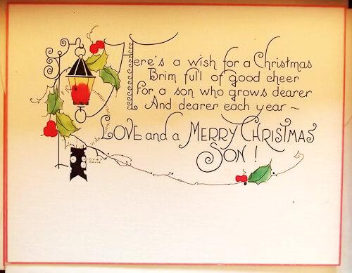 vintage christmas card son