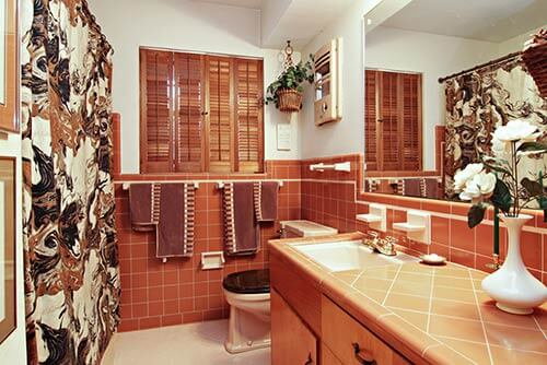 Mid-century-brown-tiled-bathroom