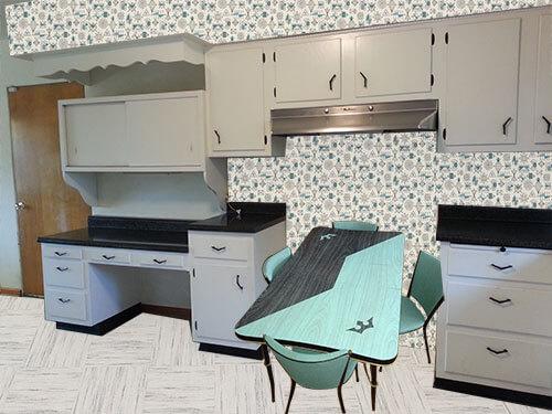 vintage black white and turquoise kitchen