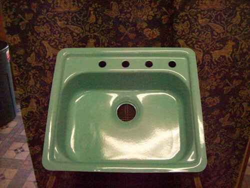 Turqouise steel enamel 21 inches x 24 inches 4 hole kitchen sink