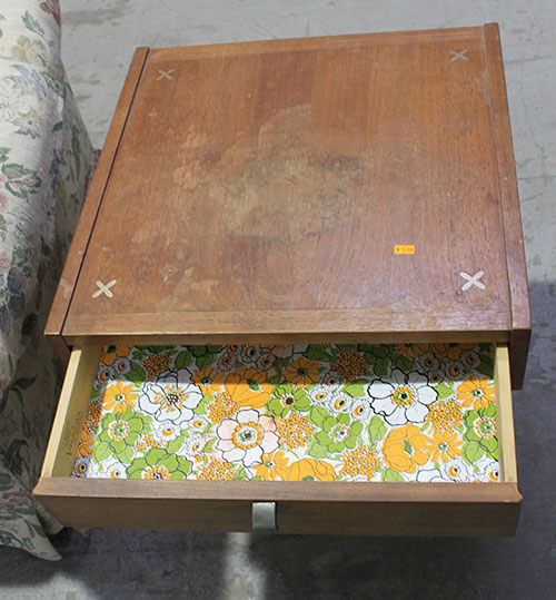 mid-century-end-table-with-flowered-drawerpaper