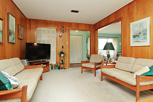 Mid century modern living space easy home decorating ideas for Living room paneling designs