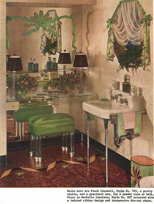 vintage-green-and-brown-bathroom-with-laminate-inlaid-floor