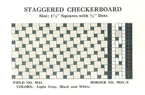Staggered-checkerboard-black-and-white-vintage-tile