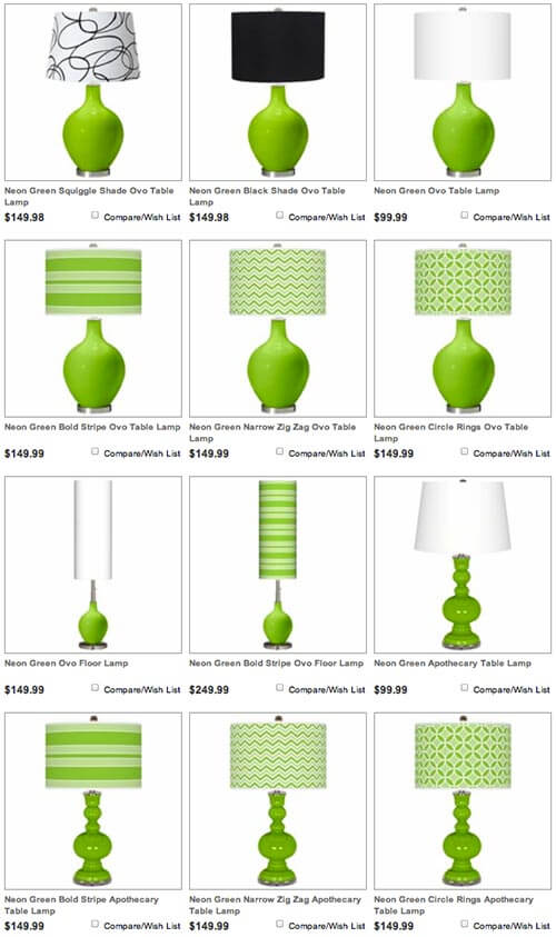 glass table lamps green