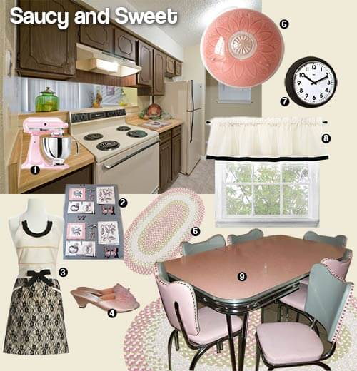 Sweet and Saucy pink and black kitchen mood board