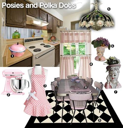 Posies and polka dots pink and black vintage kitchen