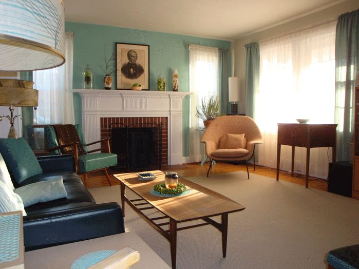 Retro living room blue for Tiffany blue living room ideas