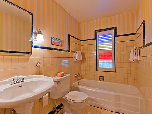 Yellow And Black Tile Bathroom Five vintage pastel bathrooms in this ...