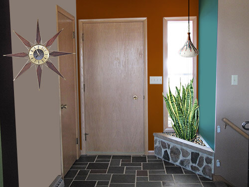 Mid Century Modern Foyer : Decorating ideas for kate s entry way with a built in