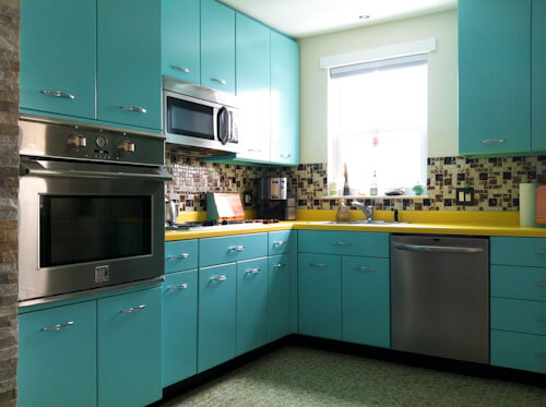 Ann recreates the look of vintage metal kitchen cabinets for Metal kitchen cabinets