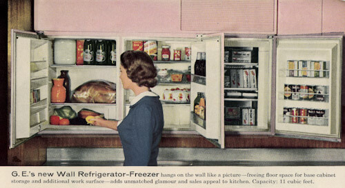 GE wall refrigerator-freezer - a 1955 innovation - 5 design photos ...