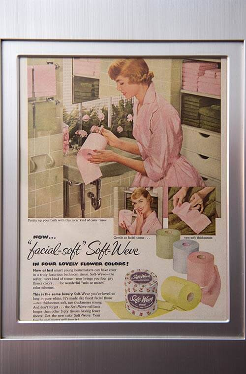 vintage-colorful-toilet-paper-ad-framed