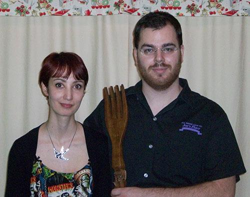 Mr. & Mrs. Vegebrarian channeling American Gothic.