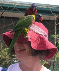 Mary Elizabeth being a bit camera shy with the help of some birds.