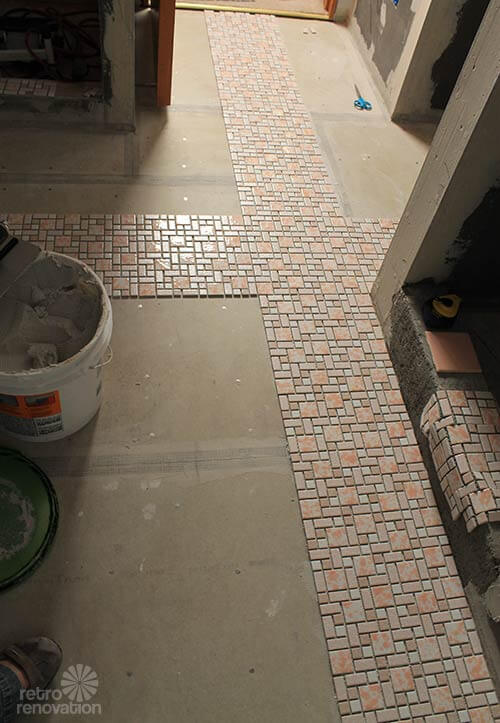 ... installs her affordable retro bathroom floor tile - Retro Renovation