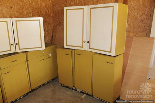Harvest gold kitchen cabinets  vintage St Charles  Retro Renovation