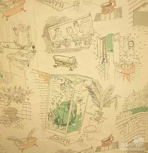 Pin by lisa on ignu pinterest for Vintage bathroom wallpaper