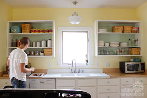 Emily drew create a charming 1940s style kitchen on a for 1940s kitchen cabinets