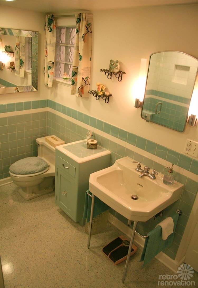 Gorgeous blue tile bathroom vintage style from scratch for Vintage bathroom photos