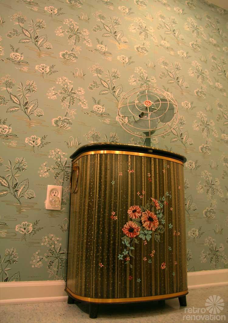 Gorgeous blue tile bathroom vintage style from scratch for Vintage bathroom wallpaper