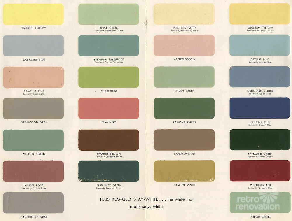 1954 paint colors for kitchens bathrooms and moldings for Best kitchen paint colors