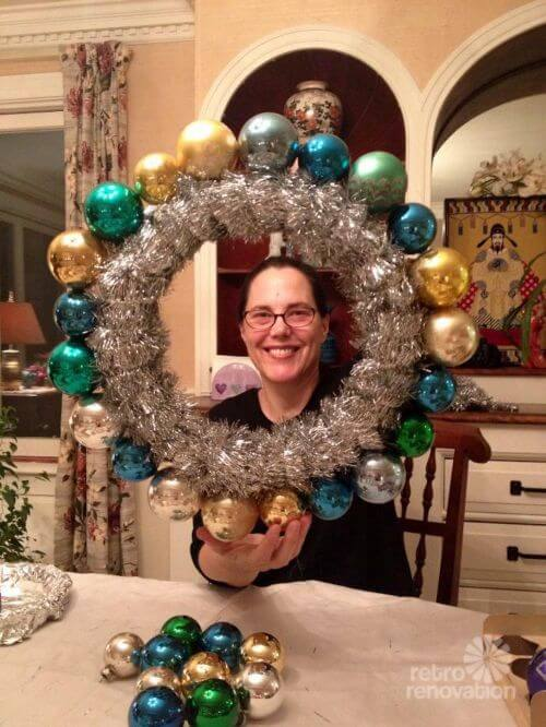 how to make a vintage ornament wreath